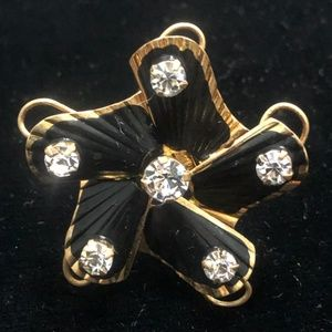 Vintage Black and Gold Rhinestone Broach